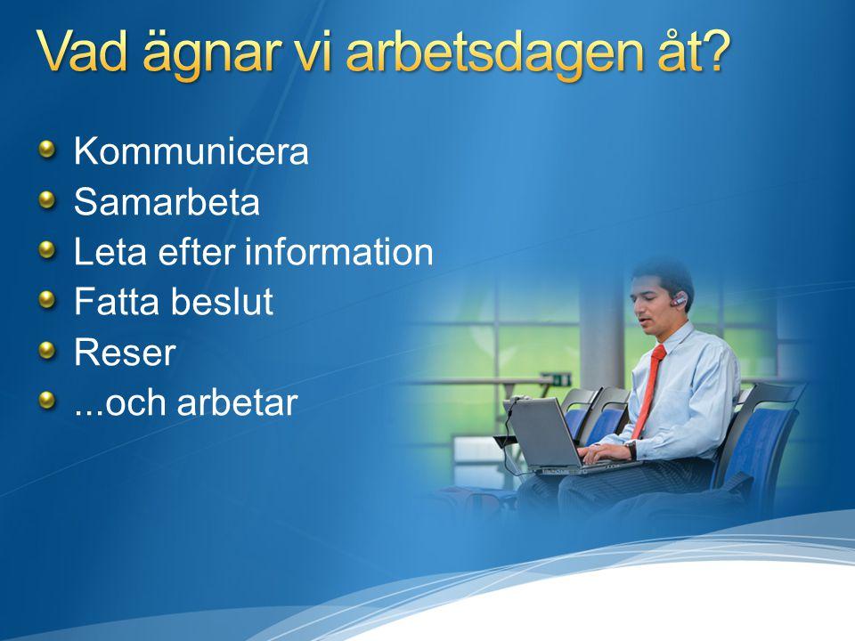 Kommunicera Samarbeta Leta efter information Fatta beslut Reser...och arbetar