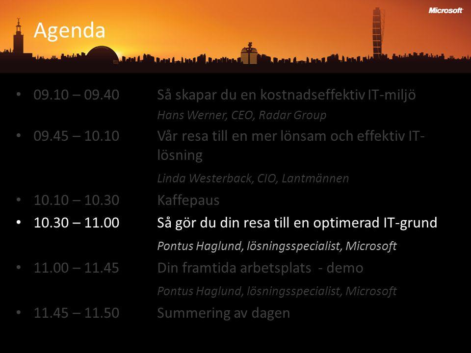 Agenda 09.10 – 09.40 Så skapar du en kostnadseffektiv IT-miljö Hans Werner, CEO, Radar Group 09.45 – 10.10 Vår resa till en mer lönsam och effektiv IT- lösning Linda Westerback, CIO, Lantmännen 10.10 – 10.30Kaffepaus 10.30 – 11.00Så gör du din resa till en optimerad IT-grund Pontus Haglund, lösningsspecialist, Microsoft 11.00 – 11.45Din framtida arbetsplats - demo Pontus Haglund, lösningsspecialist, Microsoft 11.45 – 11.50Summering av dagen