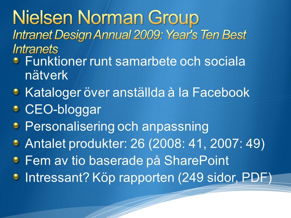Funktioner runt samarbete och sociala nätverk Kataloger över anställda à la Facebook CEO-bloggar Personalisering och anpassning Antalet produkter: 26 (2008: 41, 2007: 49) Fem av tio baserade på SharePoint Intressant.