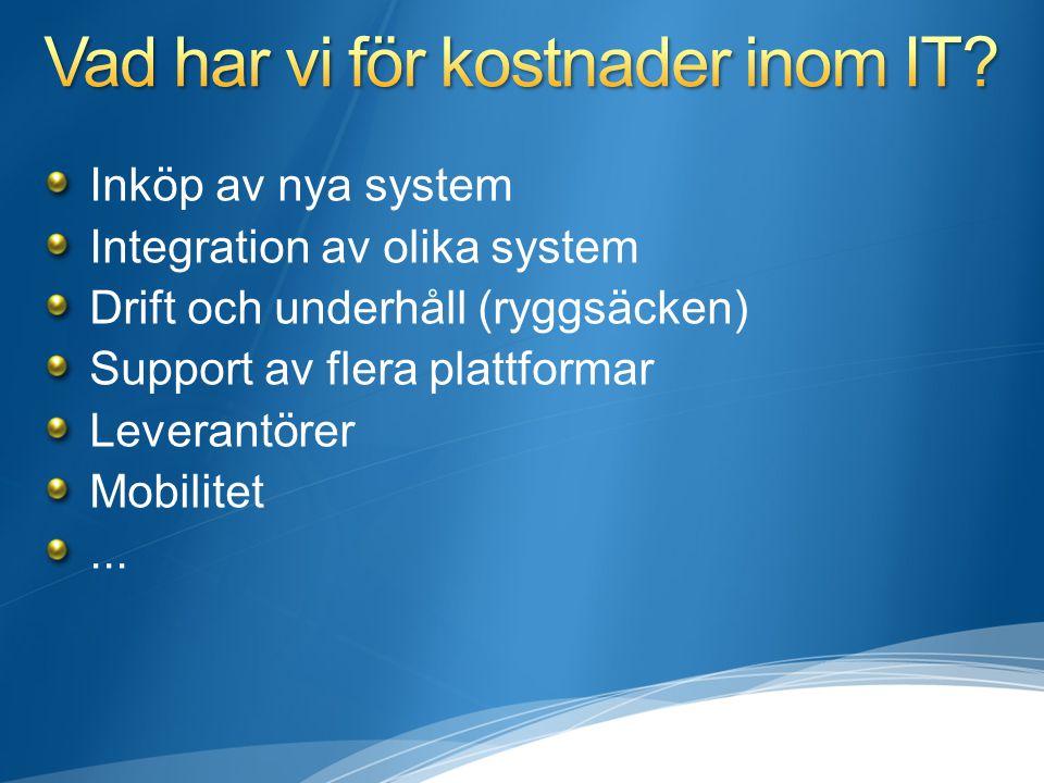 Inköp av nya system Integration av olika system Drift och underhåll (ryggsäcken) Support av flera plattformar Leverantörer Mobilitet...