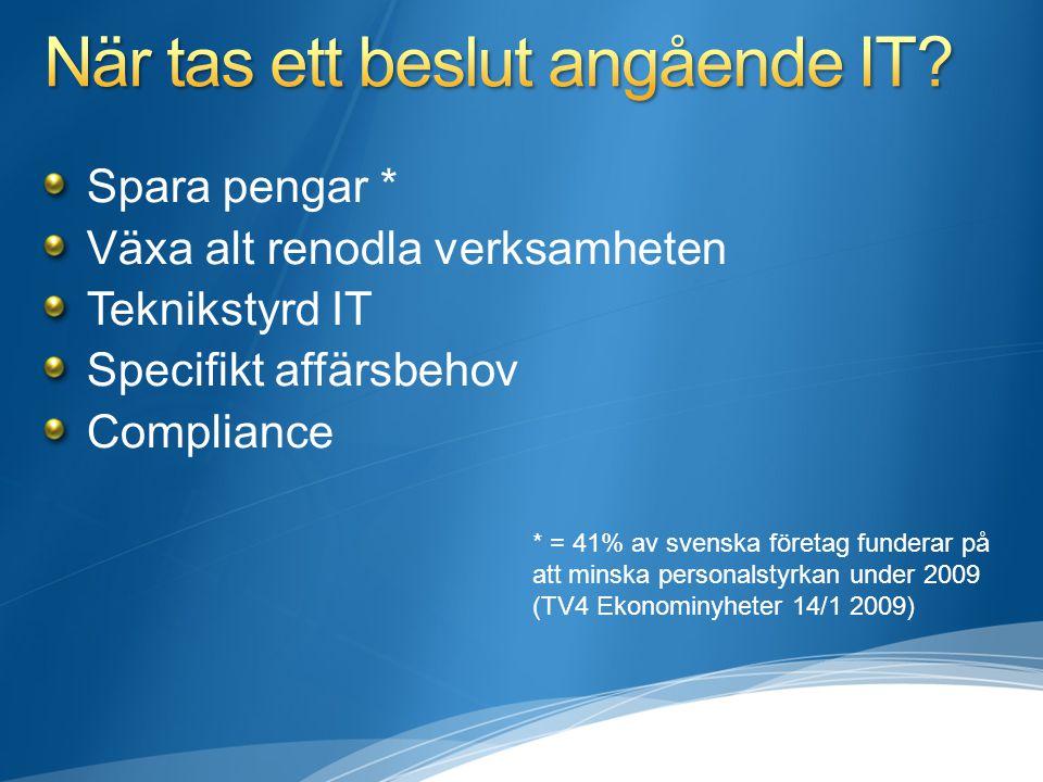 Spara pengar * Växa alt renodla verksamheten Teknikstyrd IT Specifikt affärsbehov Compliance * = 41% av svenska företag funderar på att minska persona