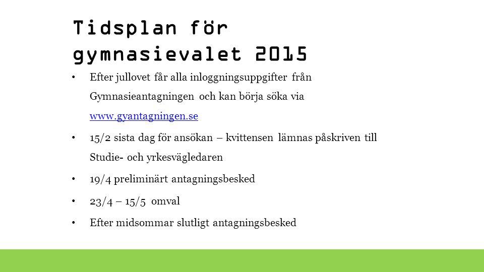 Tidsplan för gymnasievalet 2015 Efter jullovet får alla inloggningsuppgifter från Gymnasieantagningen och kan börja söka via www.gyantagningen.se www.