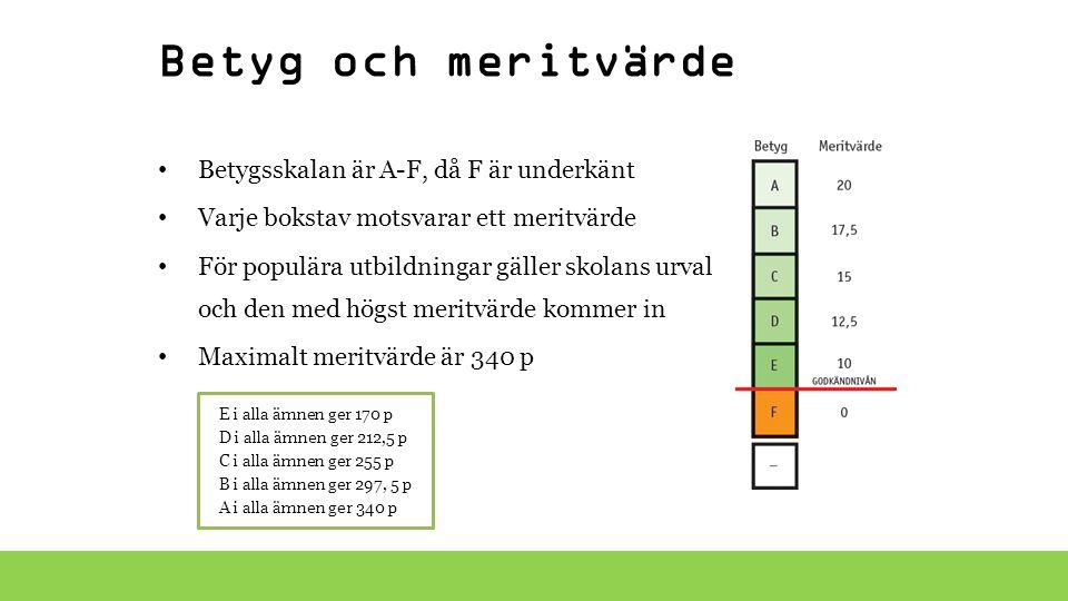 Betyg och meritvärde Betygsskalan är A-F, då F är underkänt Varje bokstav motsvarar ett meritvärde För populära utbildningar gäller skolans urval och
