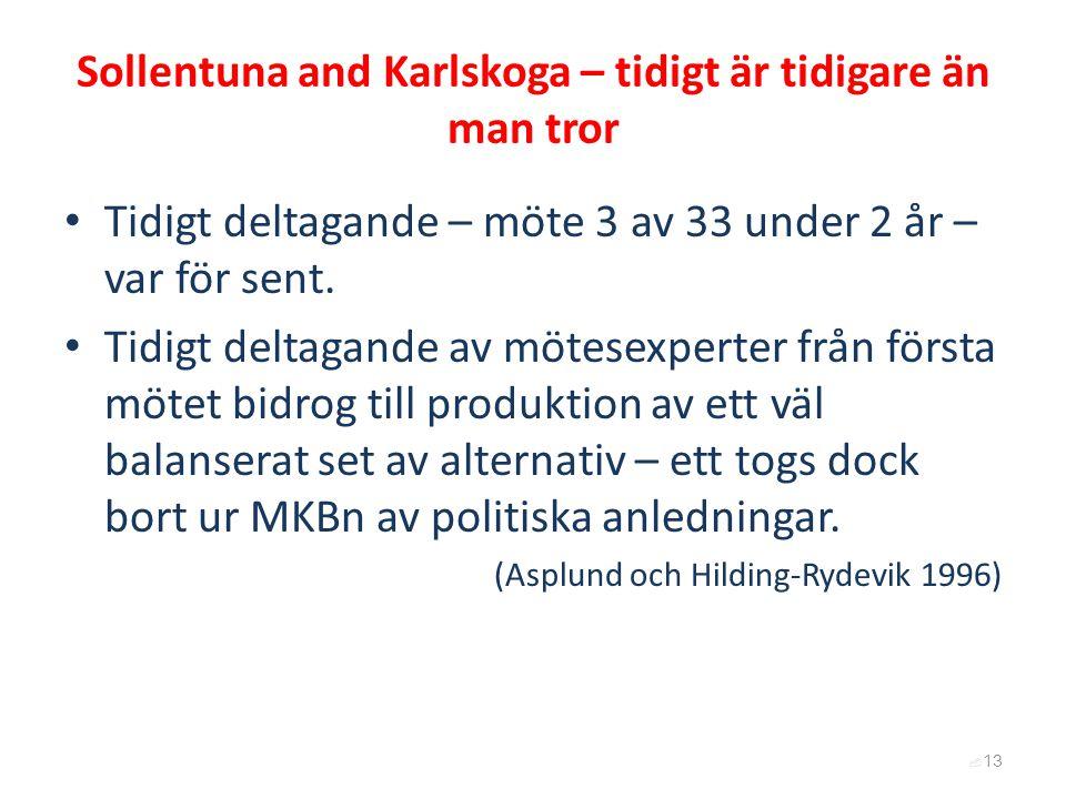 Sollentuna and Karlskoga – tidigt är tidigare än man tror Tidigt deltagande – möte 3 av 33 under 2 år – var för sent. Tidigt deltagande av mötesexpert