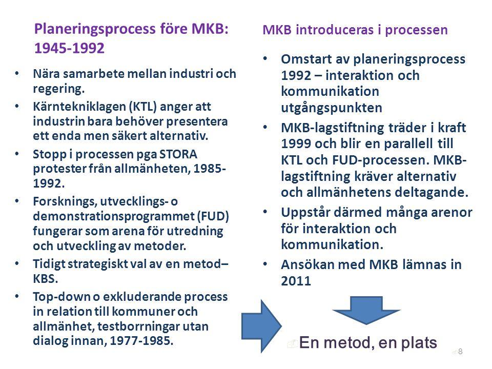 Planeringsprocess före MKB: 1945-1992 Nära samarbete mellan industri och regering. Kärntekniklagen (KTL) anger att industrin bara behöver presentera e
