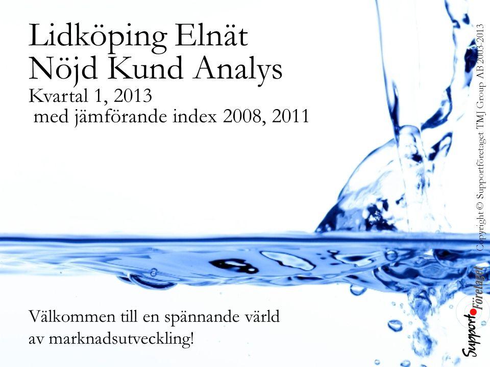 Copyright © Supportföretaget TMJ Group AB 2003-2013 Lidköping Elnät Nöjd Kund Analys Kvartal 1, 2013 med jämförande index 2008, 2011 Välkommen till en spännande värld av marknadsutveckling!