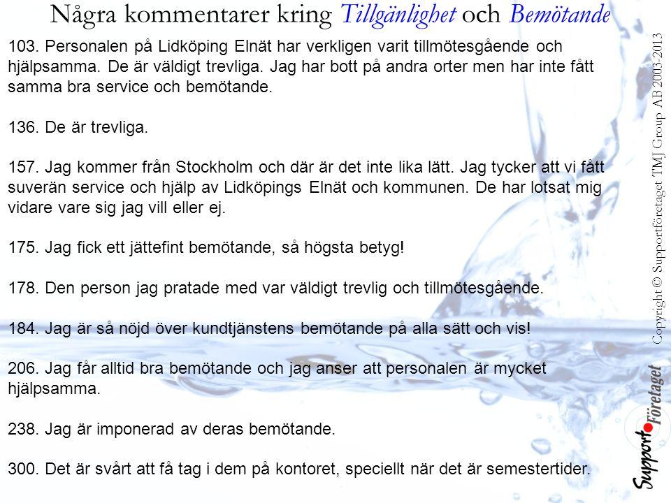 Några kommentarer kring Tillgänlighet och Bemötande 103. Personalen på Lidköping Elnät har verkligen varit tillmötesgående och hjälpsamma. De är väldi