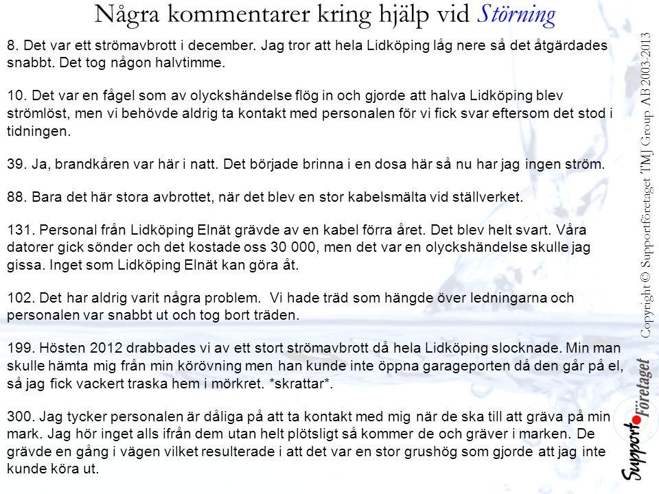 Några kommentarer kring hjälp vid Störning 8. Det var ett strömavbrott i december. Jag tror att hela Lidköping låg nere så det åtgärdades snabbt. Det