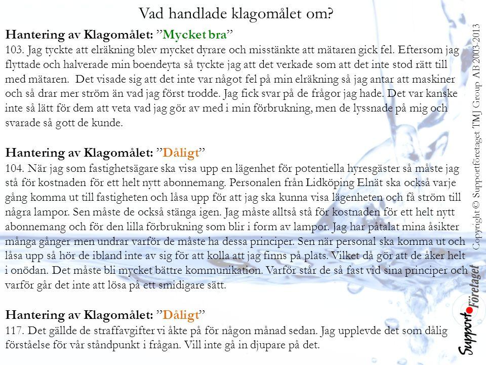 Copyright © Supportföretaget TMJ Group AB 2003-2013 Vad handlade klagomålet om.