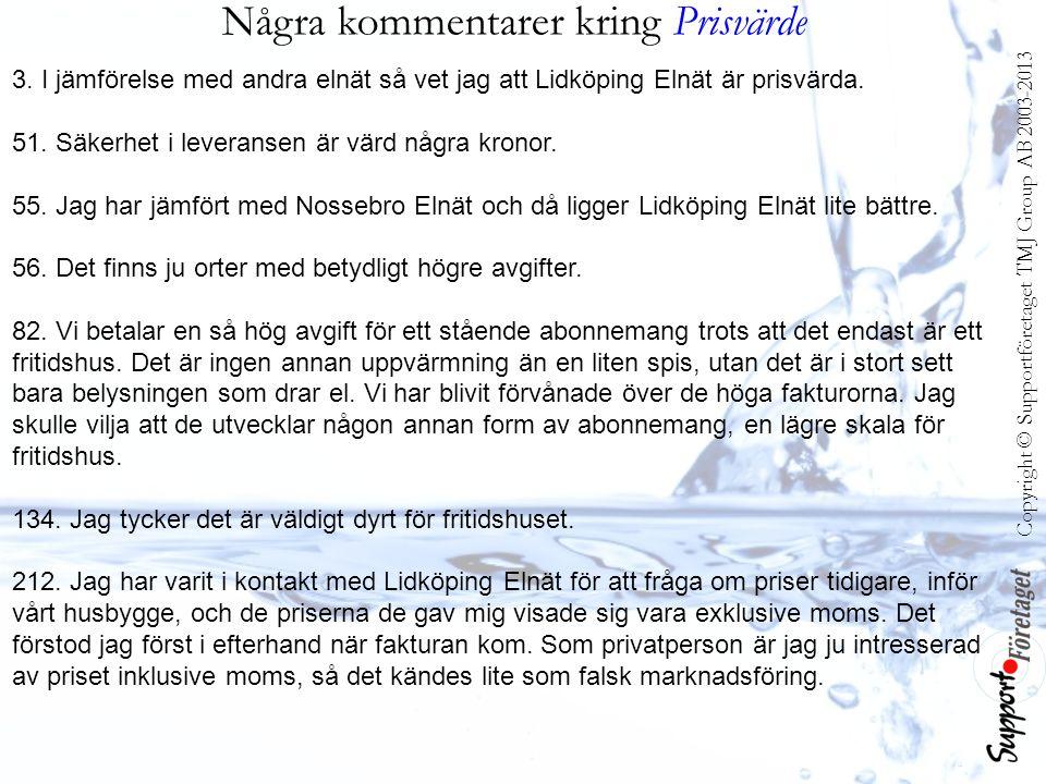 Några kommentarer kring Prisvärde 3. I jämförelse med andra elnät så vet jag att Lidköping Elnät är prisvärda. 51. Säkerhet i leveransen är värd några