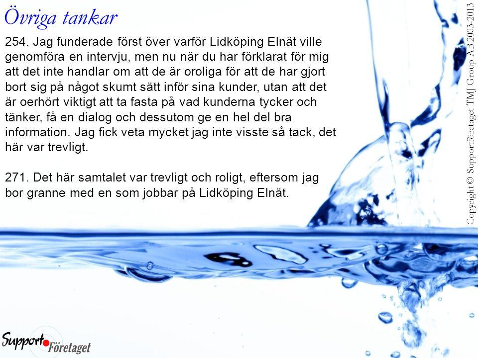 Copyright © Supportföretaget TMJ Group AB 2003-2013 Övriga tankar 254. Jag funderade först över varför Lidköping Elnät ville genomföra en intervju, me