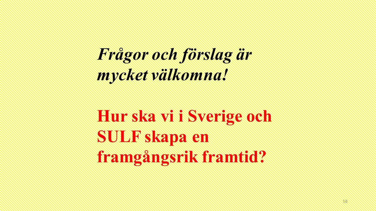 58 Frågor och förslag är mycket välkomna! Hur ska vi i Sverige och SULF skapa en framgångsrik framtid?