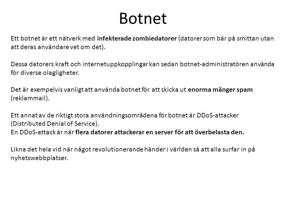 Botnet Ett botnet är ett nätverk med infekterade zombiedatorer (datorer som bär på smittan utan att deras användare vet om det). Dessa datorers kraft