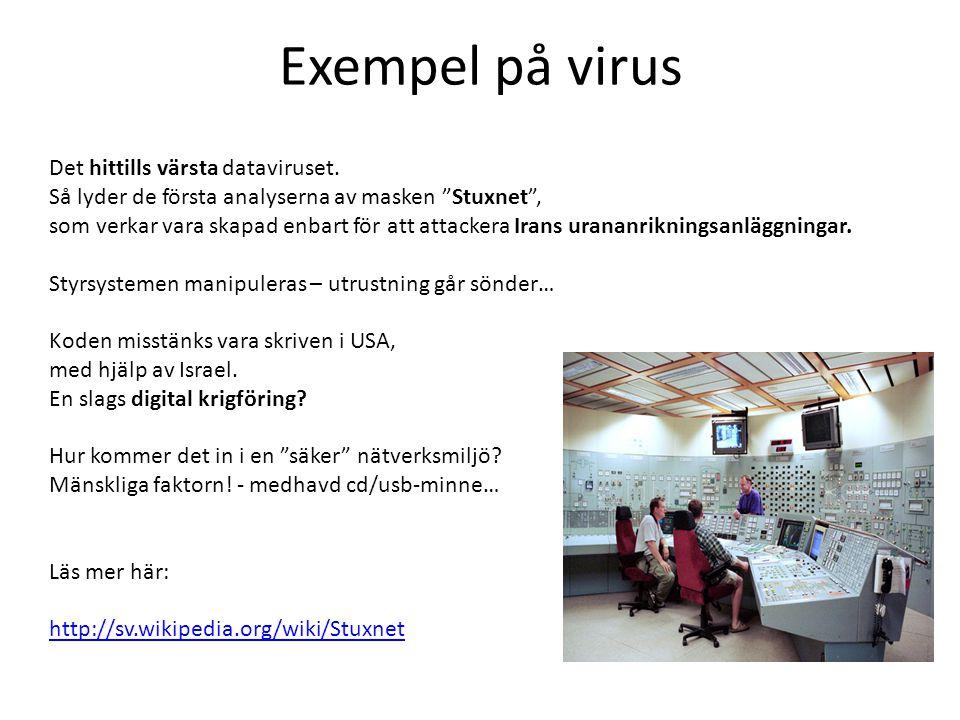 """Exempel på virus Det hittills värsta dataviruset. Så lyder de första analyserna av masken """"Stuxnet"""", som verkar vara skapad enbart för att attackera I"""