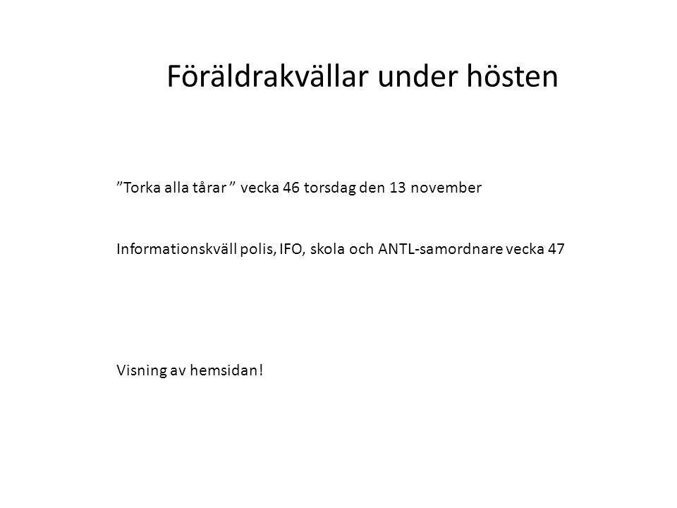 """Föräldrakvällar under hösten """"Torka alla tårar """" vecka 46 torsdag den 13 november Informationskväll polis, IFO, skola och ANTL-samordnare vecka 47 Vis"""
