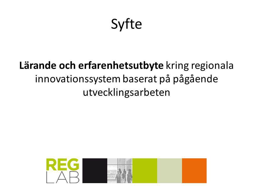 Syfte Lärande och erfarenhetsutbyte kring regionala innovationssystem baserat på pågående utvecklingsarbeten