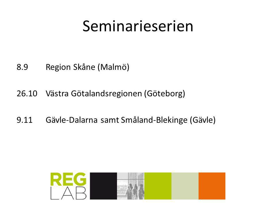 Seminarieserien 8.9Region Skåne (Malmö) 26.10Västra Götalandsregionen (Göteborg) 9.11Gävle-Dalarna samt Småland-Blekinge (Gävle)