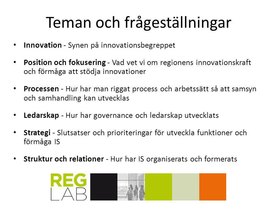 Teman och frågeställningar Innovation - Synen på innovationsbegreppet Position och fokusering - Vad vet vi om regionens innovationskraft och förmåga a