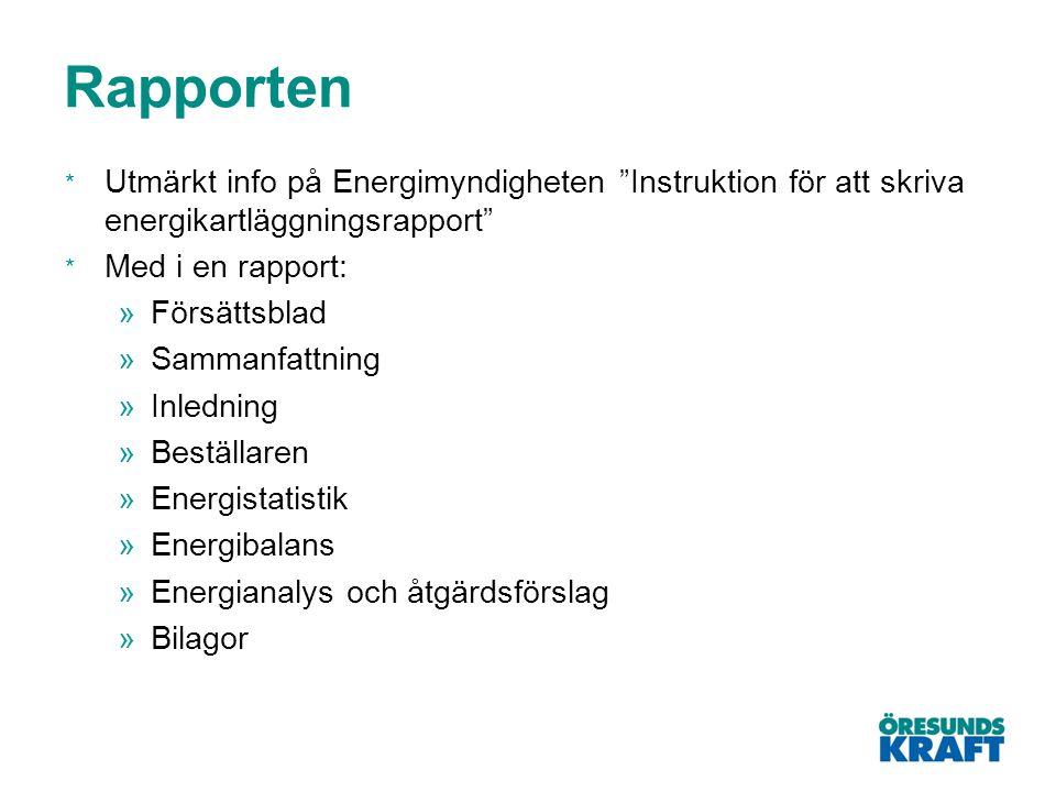 """Rapporten * Utmärkt info på Energimyndigheten """"Instruktion för att skriva energikartläggningsrapport"""" * Med i en rapport: »Försättsblad »Sammanfattnin"""