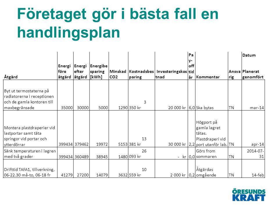 Företaget gör i bästa fall en handlingsplan Energi före åtgärd Energi efter åtgärd Energibe sparing [kWh] Minskad CO2 Kostnadsbes paring Investeringsk