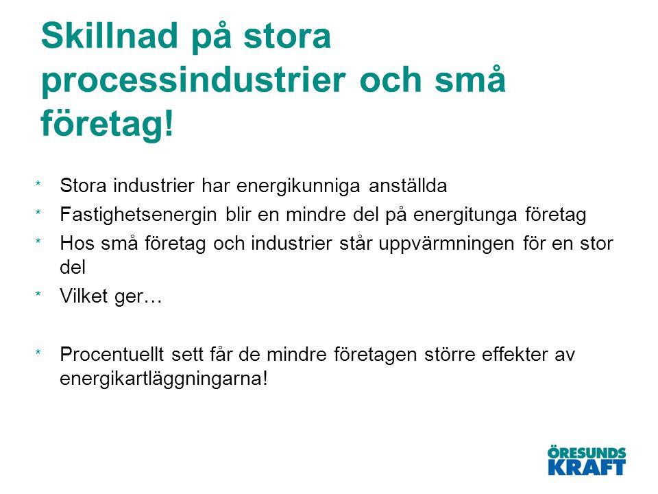 Skillnad på stora processindustrier och små företag! * Stora industrier har energikunniga anställda * Fastighetsenergin blir en mindre del på energitu