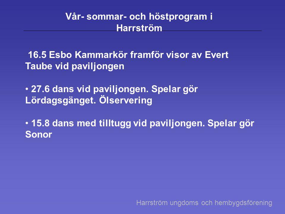 Vår- sommar- och höstprogram i Harrström 16.5 Esbo Kammarkör framför visor av Evert Taube vid paviljongen 27.6 dans vid paviljongen. Spelar gör Lördag