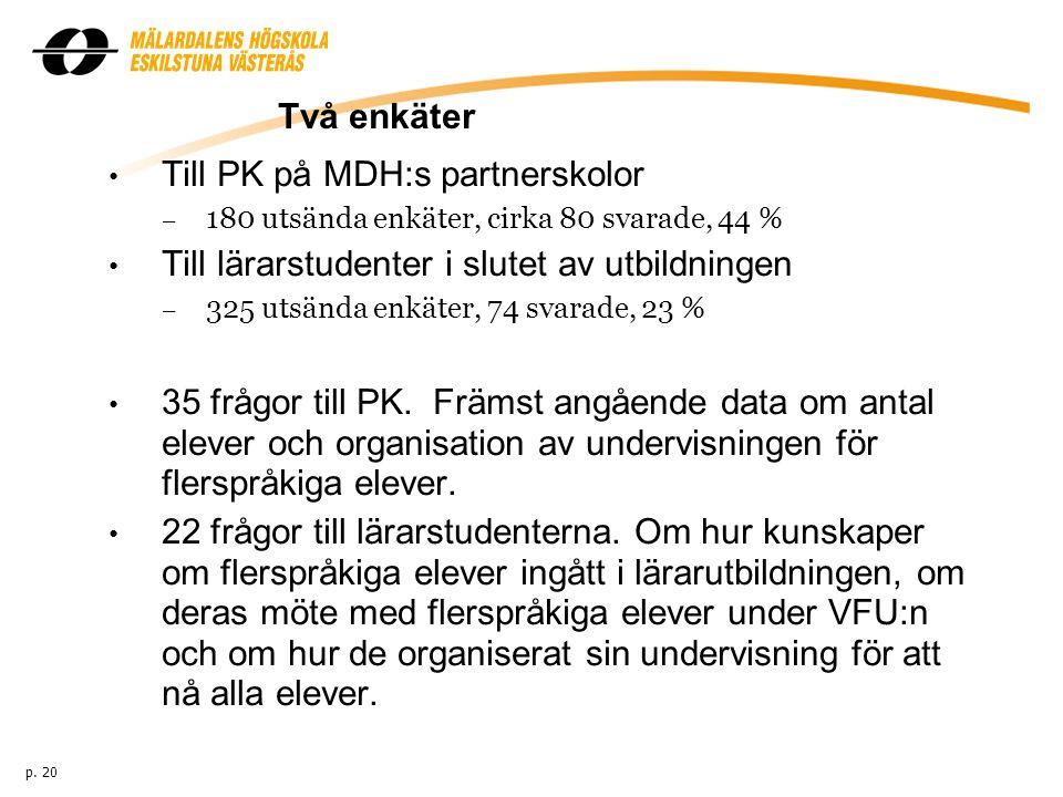 Två enkäter Till PK på MDH:s partnerskolor – 180 utsända enkäter, cirka 80 svarade, 44 % Till lärarstudenter i slutet av utbildningen – 325 utsända enkäter, 74 svarade, 23 % 35 frågor till PK.