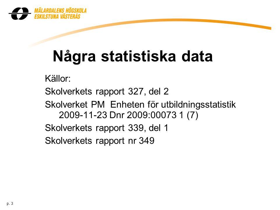 Några statistiska data Källor: Skolverkets rapport 327, del 2 Skolverket PM Enheten för utbildningsstatistik 2009-11-23 Dnr 2009:00073 1 (7) Skolverkets rapport 339, del 1 Skolverkets rapport nr 349 p.