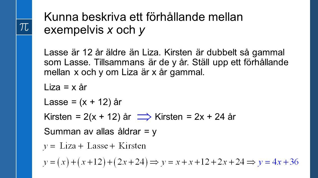 Kunna beskriva ett förhållande mellan exempelvis x och y Lasse är 12 år äldre än Liza. Kirsten är dubbelt så gammal som Lasse. Tillsammans är de y år.