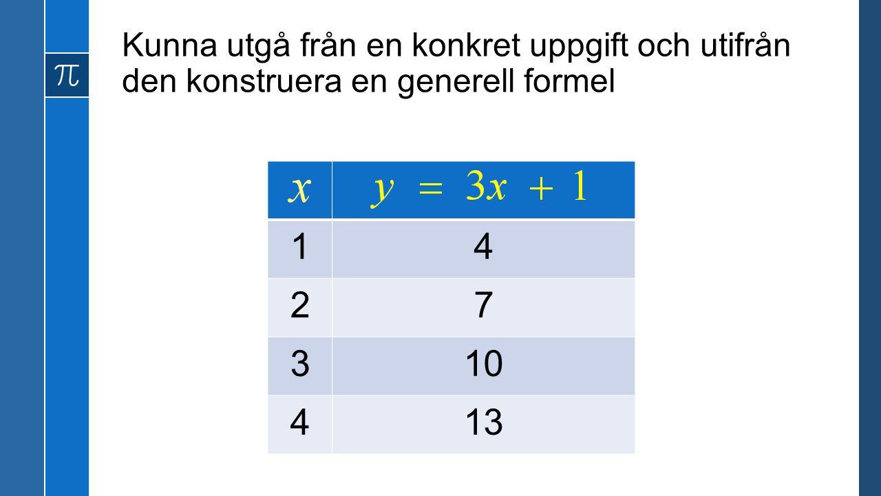 Kunna utgå från en konkret uppgift och utifrån den konstruera en generell formel 14 27 310 413