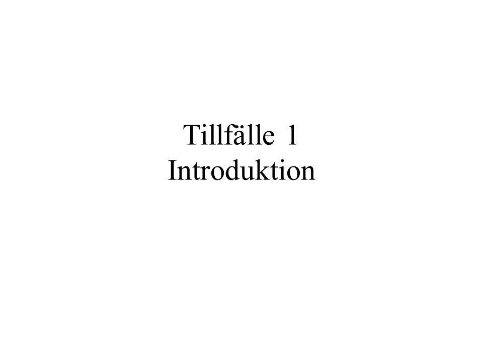 Tillfälle 1 Introduktion
