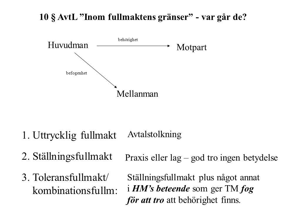 10 § AvtL Inom fullmaktens gränser - var går de.