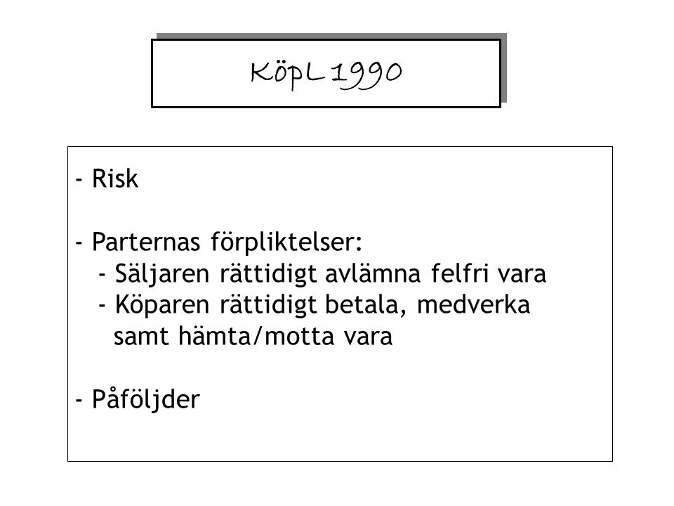 KöpL 1990 - Risk - Parternas förpliktelser: - Säljaren rättidigt avlämna felfri vara - Köparen rättidigt betala, medverka samt hämta/motta vara - Påföljder