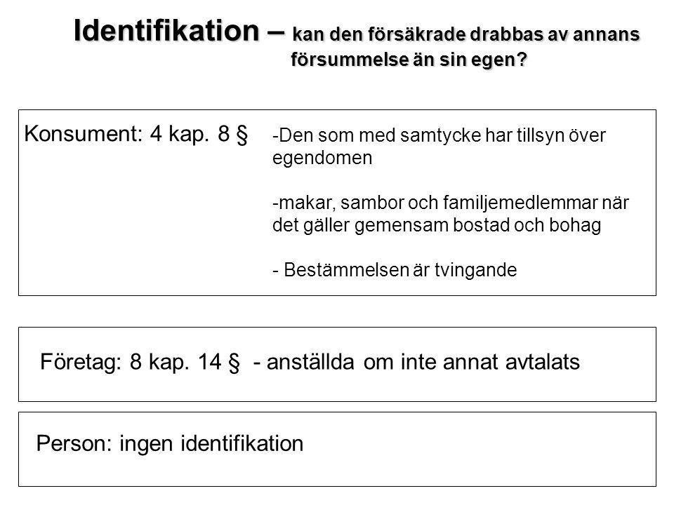 Identifikation – kan den försäkrade drabbas av annans försummelse än sin egen? försummelse än sin egen? -Den som med samtycke har tillsyn över egendom