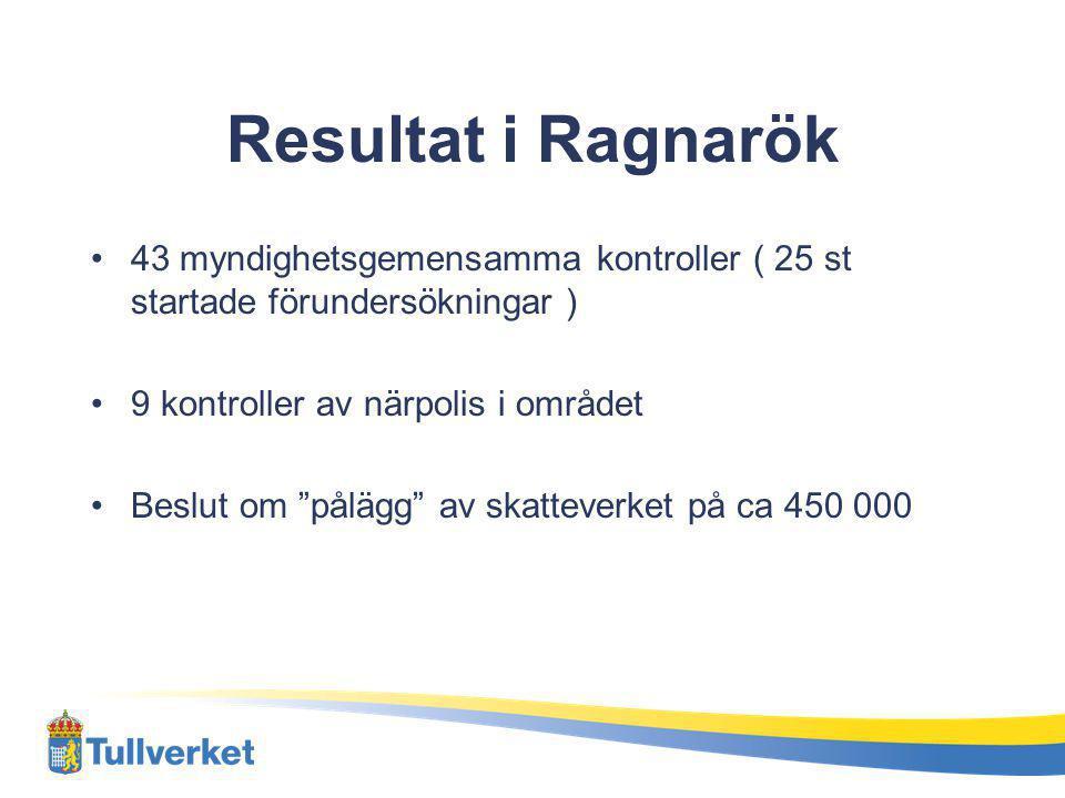 """Resultat i Ragnarök 43 myndighetsgemensamma kontroller ( 25 st startade förundersökningar ) 9 kontroller av närpolis i området Beslut om """"pålägg"""" av s"""