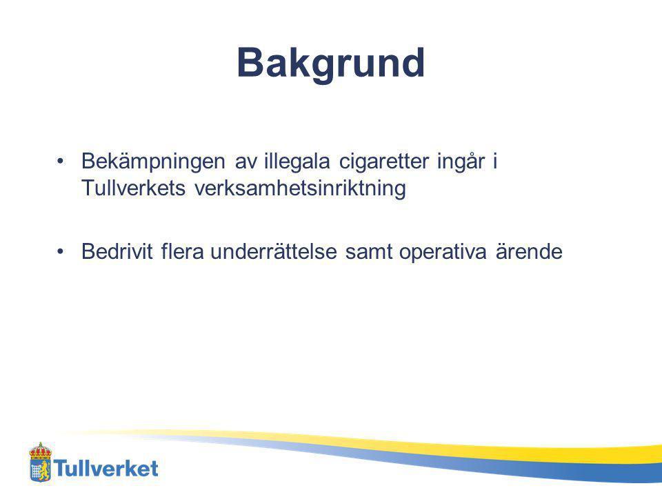 Bakgrund Bekämpningen av illegala cigaretter ingår i Tullverkets verksamhetsinriktning Bedrivit flera underrättelse samt operativa ärende