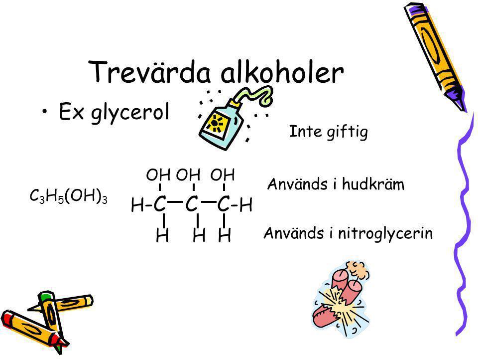 Tvåvärda alkoholer Ex. glykol OH H-C – C- H H H Sänker fryspunkten på vatten CH 4 (OH) 2 Används till avisning av flygplansvingar Giftig