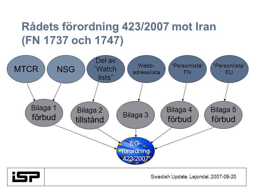 """Swedish Update, Lejondal, 2007-09-20 Rådets förordning 423/2007 mot Iran (FN 1737 och 1747) EG- förordning 423/2007 NSG MTCR Del av """"Watch lists"""" Bila"""