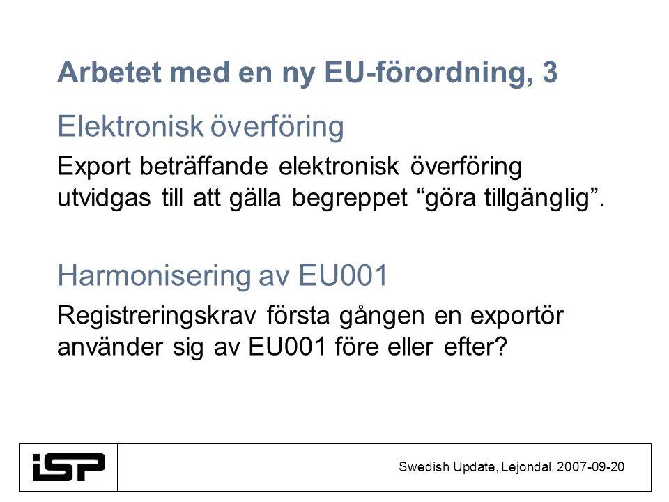 Swedish Update, Lejondal, 2007-09-20 Arbetet med en ny EU-förordning, 3 Elektronisk överföring Export beträffande elektronisk överföring utvidgas till