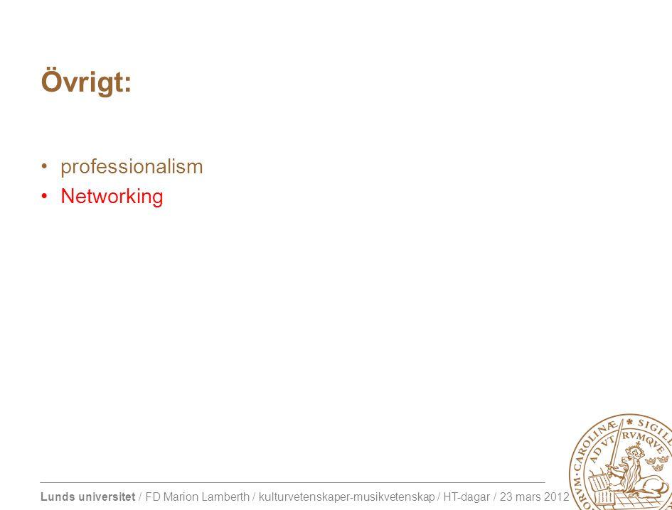 Lunds universitet / FD Marion Lamberth / kulturvetenskaper-musikvetenskap / HT-dagar / 23 mars 2012 Övrigt: professionalism Networking