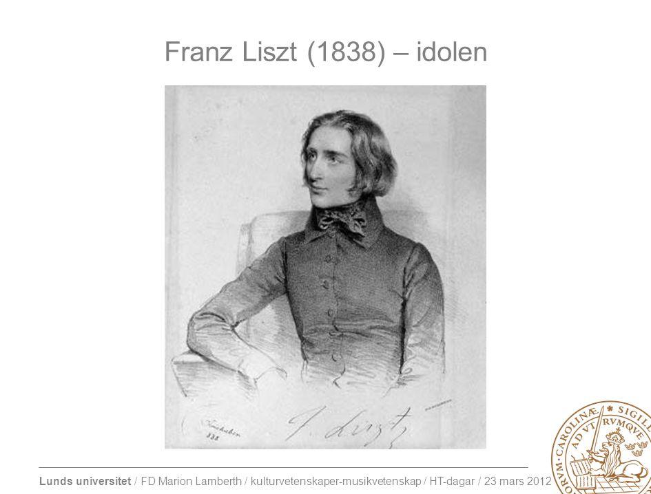 Lunds universitet / FD Marion Lamberth / kulturvetenskaper-musikvetenskap / HT-dagar / 23 mars 2012 Franz Liszt (1838) – idolen