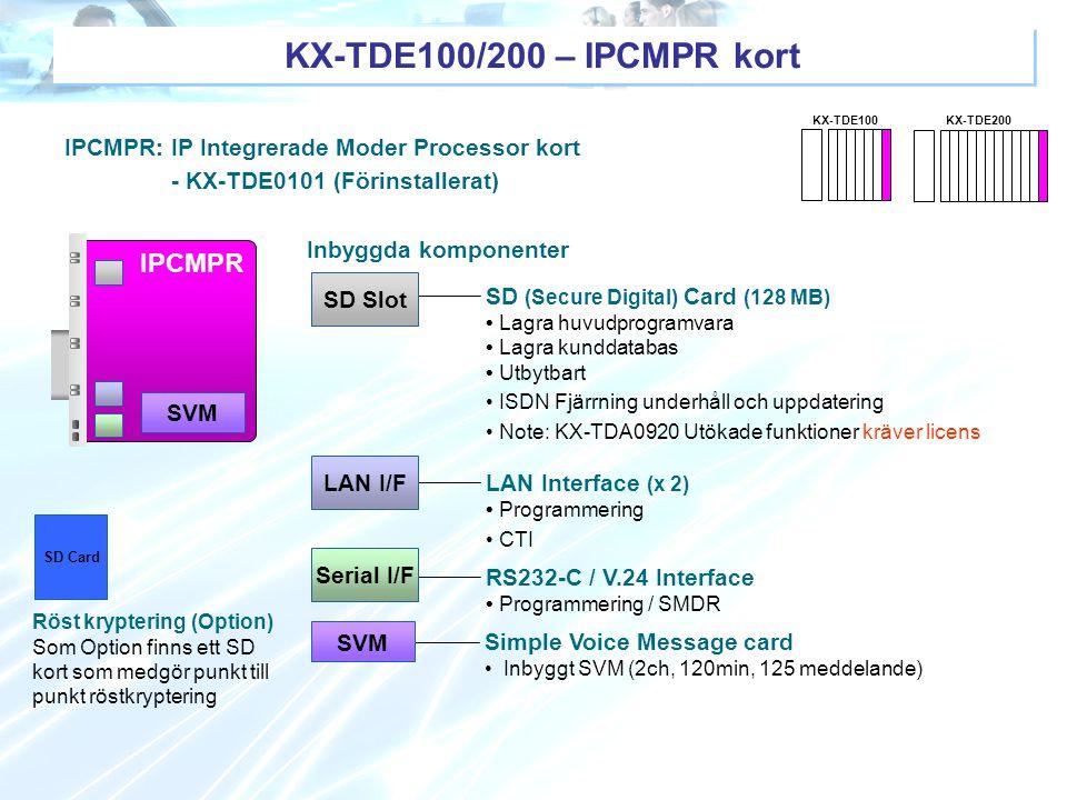 IPCMPR: IP Integrerade Moder Processor kort - KX-TDE0101 (Förinstallerat) SD (Secure Digital) Card (128 MB) Lagra huvudprogramvara Lagra kunddatabas U