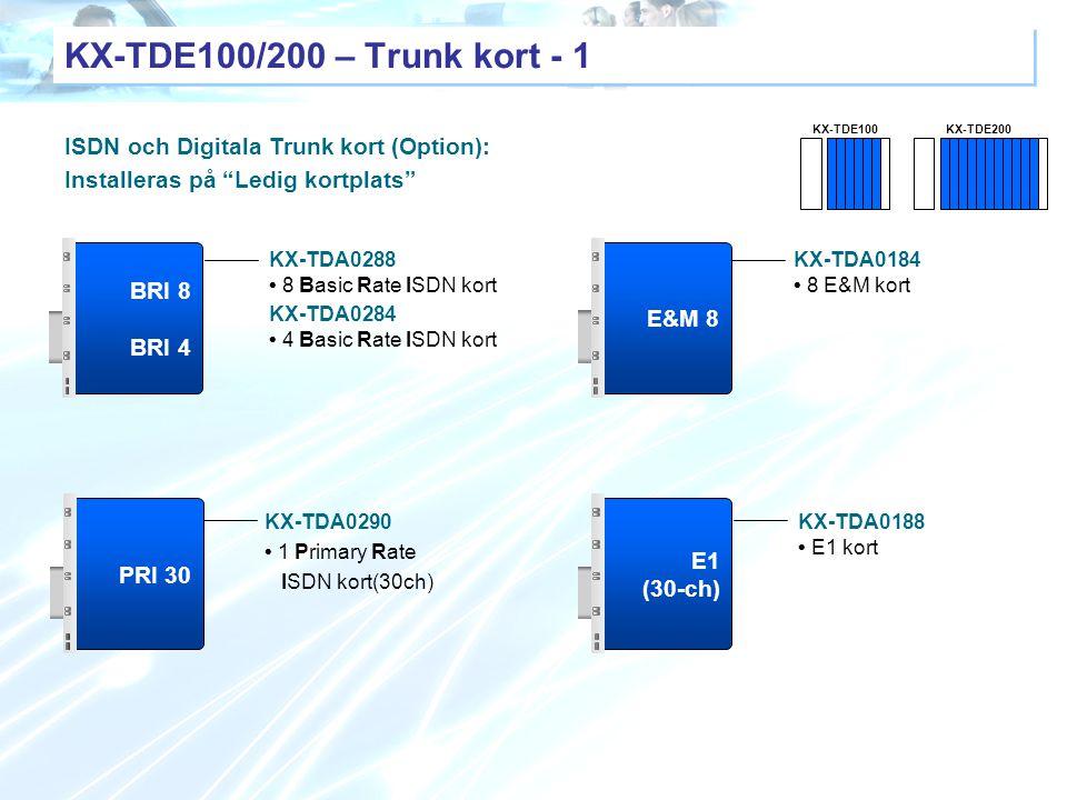 """E1 (30-ch) KX-TDA0188 E1 kort PRI 30 KX-TDA0290 1 Primary Rate ISDN kort(30ch) ISDN och Digitala Trunk kort (Option): Installeras på """"Ledig kortplats"""""""
