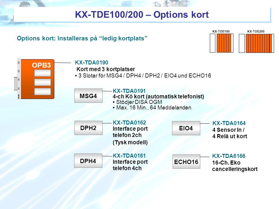 """Options kort: Installeras på """"ledig kortplats"""" OPB3 MSG4 DPH4 EIO4 DPH2 ECHO16 KX-TDA0191 4-ch Kö kort (automatisk telefonist) Stödjer DISA OGM Max. 1"""