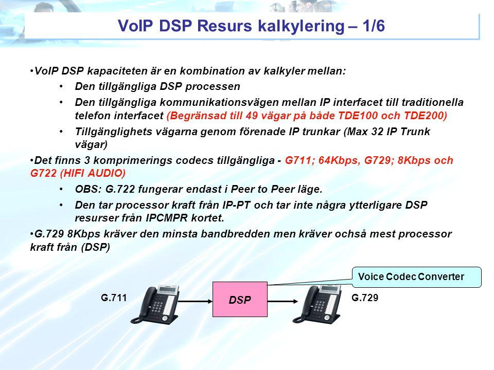 DSP Voice Codec Converter G.711G.729 VoIP DSP Resurs kalkylering – 1/6 VoIP DSP kapaciteten är en kombination av kalkyler mellan: Den tillgängliga DSP