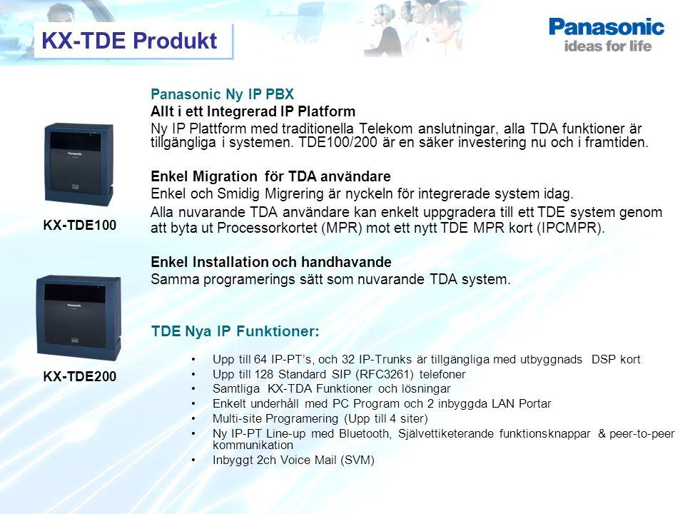 KX-TDE100 KX-TDE200 KX-TDE Produkt Panasonic Ny IP PBX Allt i ett Integrerad IP Platform Ny IP Plattform med traditionella Telekom anslutningar, alla