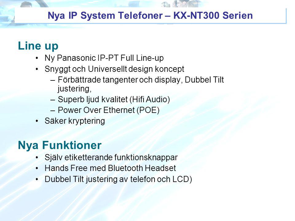 Nya IP System Telefoner – KX-NT300 Serien Line up Ny Panasonic IP-PT Full Line-up Snyggt och Universellt design koncept –Förbättrade tangenter och dis