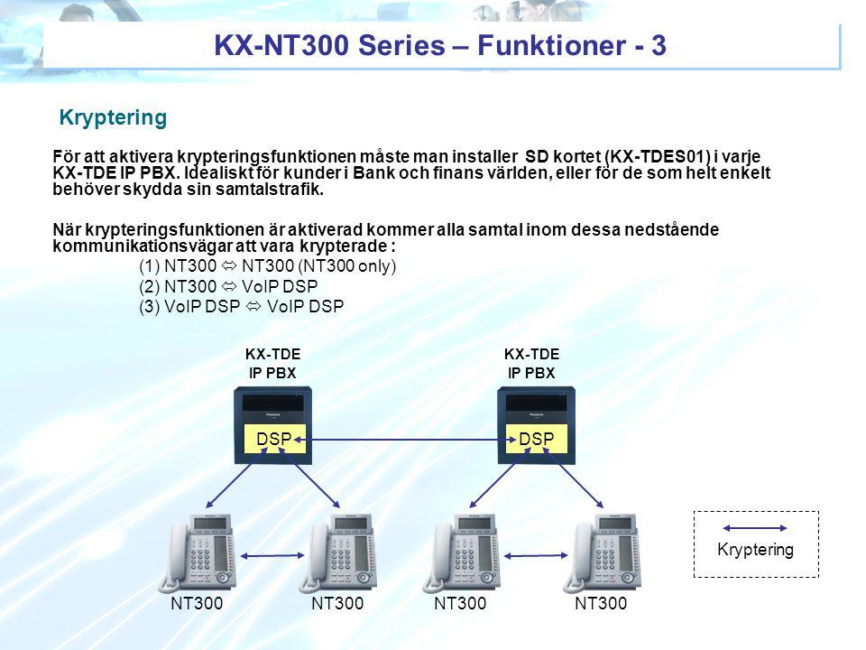 KX-NT300 Series – Funktioner - 3 DSP NT300 KX-TDE IP PBX DSP KX-TDE IP PBX NT300 Kryptering För att aktivera krypteringsfunktionen måste man installer