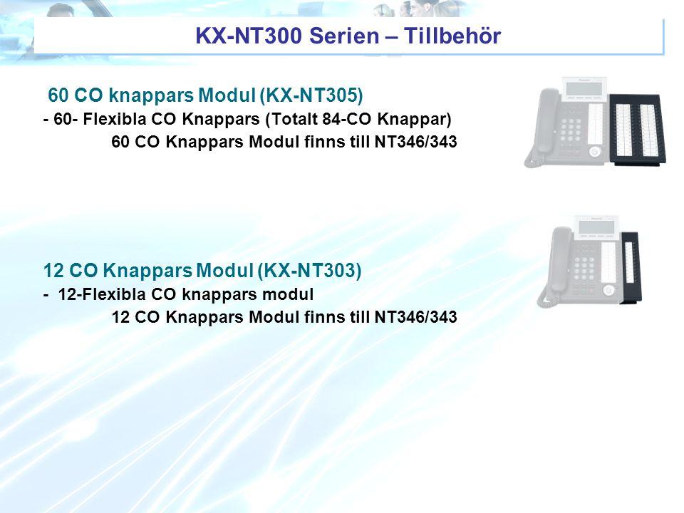 KX-NT300 Serien – Tillbehör 60 CO knappars Modul (KX-NT305) - 60- Flexibla CO Knappars (Totalt 84-CO Knappar) 60 CO Knappars Modul finns till NT346/34