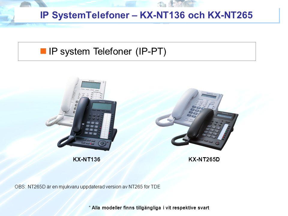 * Alla modeller finns tillgängliga i vit respektive svart KX-NT136KX-NT265D IP system Telefoner (IP-PT) IP SystemTelefoner – KX-NT136 och KX-NT265 OBS